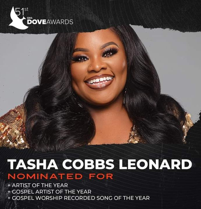 [#ProclaimNews] Tasha Cobbs Leonard nominated in 3 categories at the 51st Dove Awards.